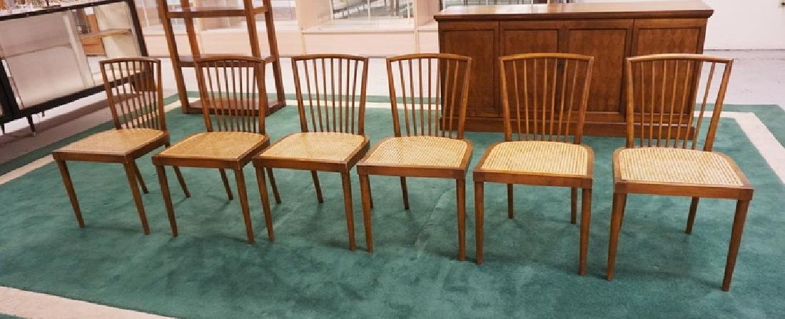 SET OF 6 MID CENTURY MODERN DINING CHAIRS WITH CANED