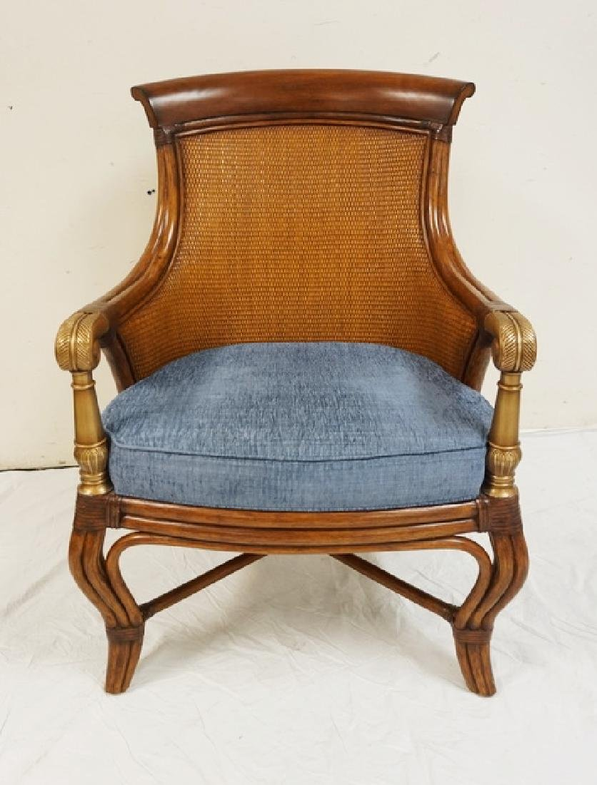 ETHAN ALLEN RATTAN STYLED ARMCHAIR WITH A WICKER BACK.