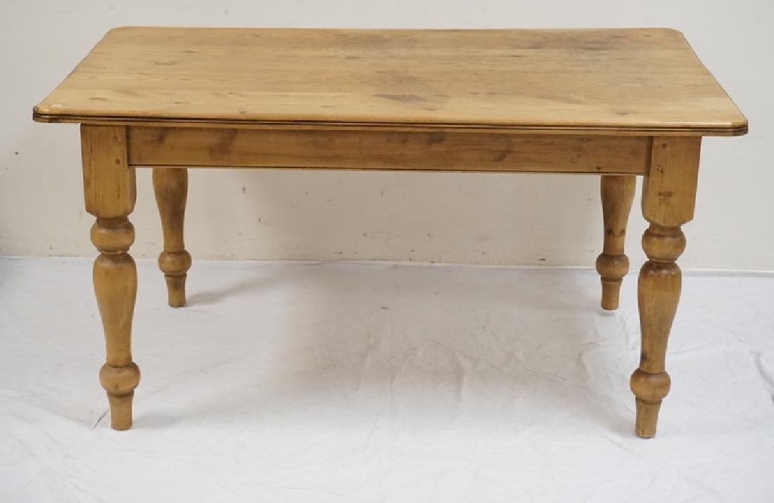 PINE DINING TABLE. PEGGED CONTRUCTION AND BALUSTER