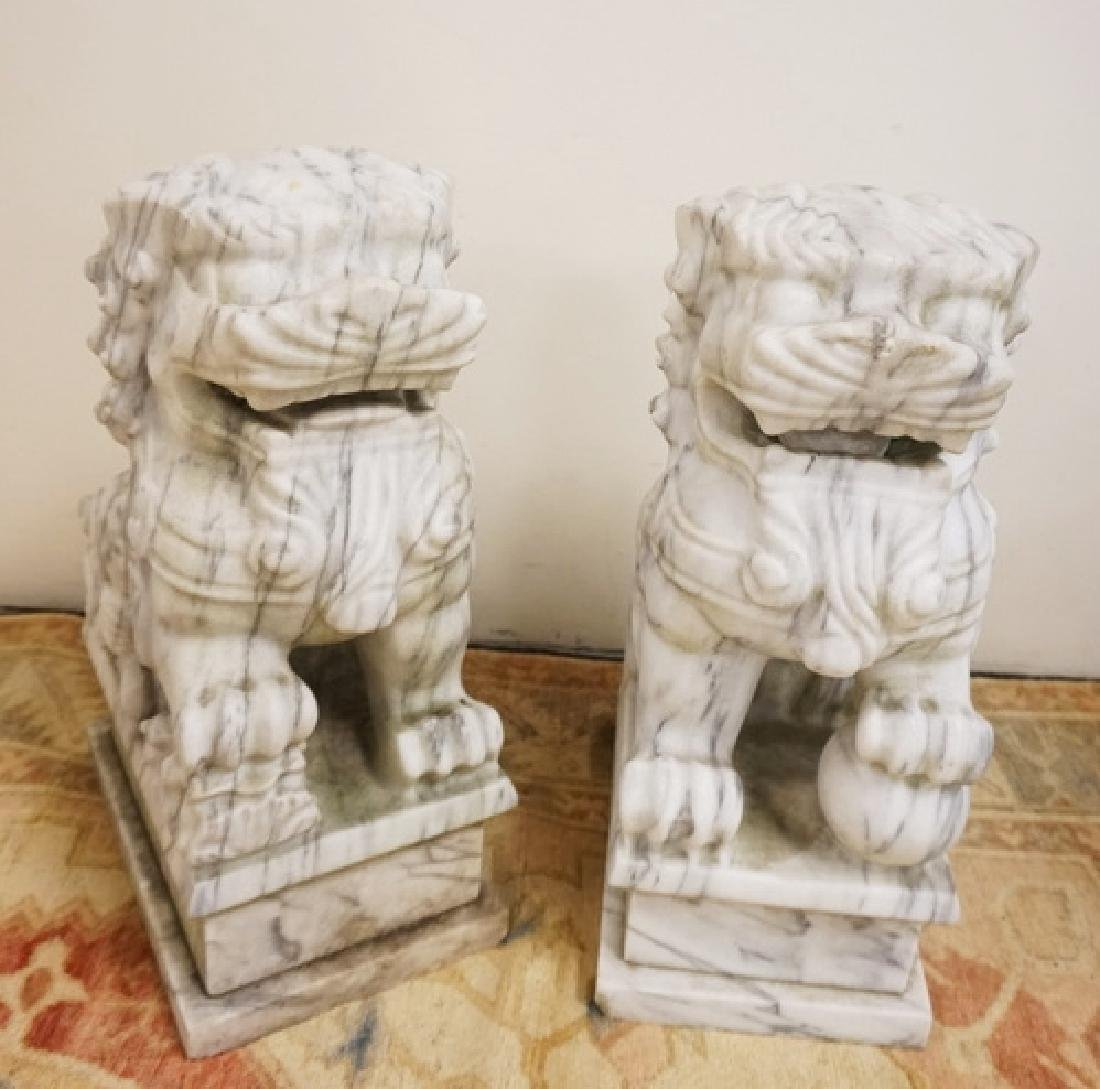 PAIR OF MARBLE FOO DOGS MEASURING 19 INCHES HIGH. 8