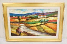 SLAVA BRODINSKY COLORFUL OIL PAINTING ON CANVAS OF A
