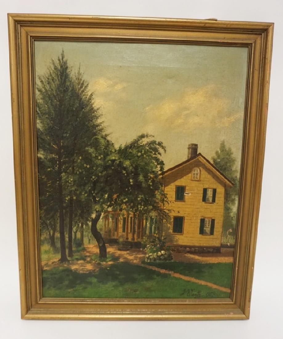 J. WERTZ ANTIQUE OIL PAINTING ON CANVAS OF A HOME