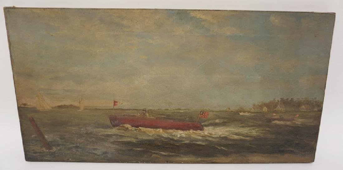 OIL PAITNING ON CANVAS OF BOATS IN THE OCEAN WITH A