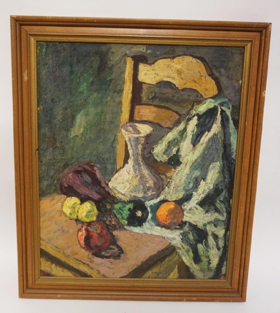 RUTH COHEN STILL LIFE OIL PAINTING ON BOARD WITH A VASE