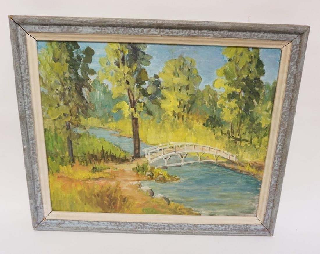 M.C. HAYES OIL PAINTING ON BOARD OF A WOODED LANDSCAPE