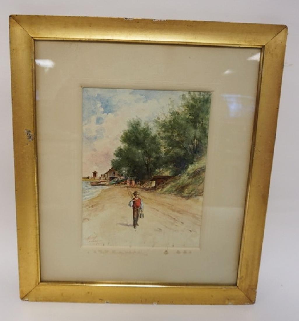 EXCEPTIONAL WATERCOLOR PAINTING OF A MAN WITH A FISHING