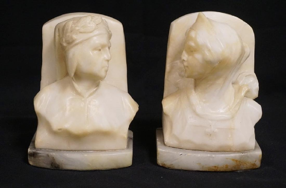 PAIR OF ITALIAN CARVED MARBLE BOOKENDS IN THE FORM OF