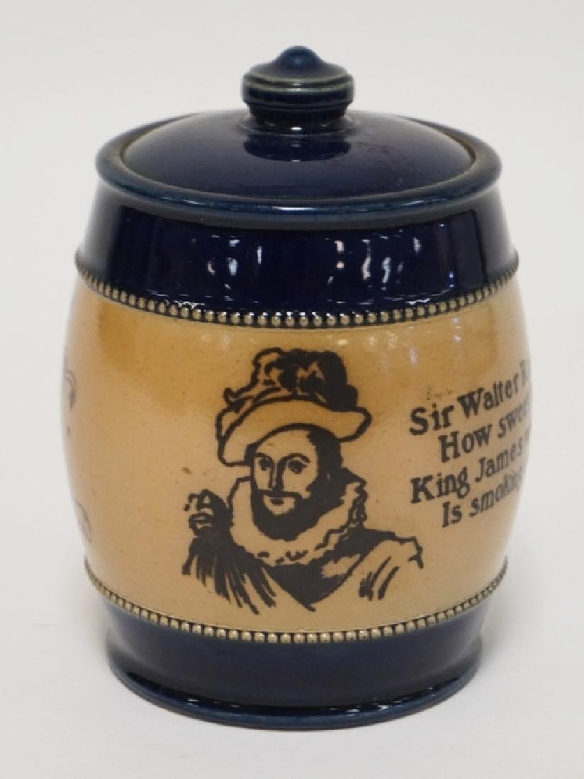 ROYAL DOULTON SIR WALTER RALEIGH TOBACCO JAR WITH LID.