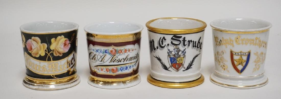 LOT OF 4 HAND PAINTED SHAVING MUGS. INCLUDES A P.O.S.