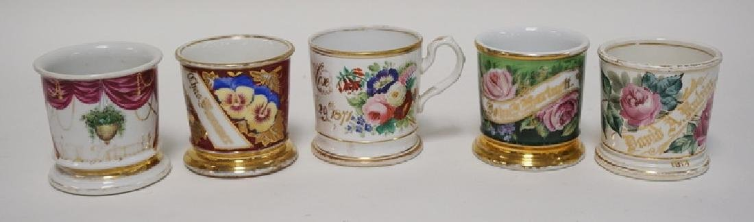 LOT OF 5 HAND PAINTED SHAVING MUGS. FLORAL.