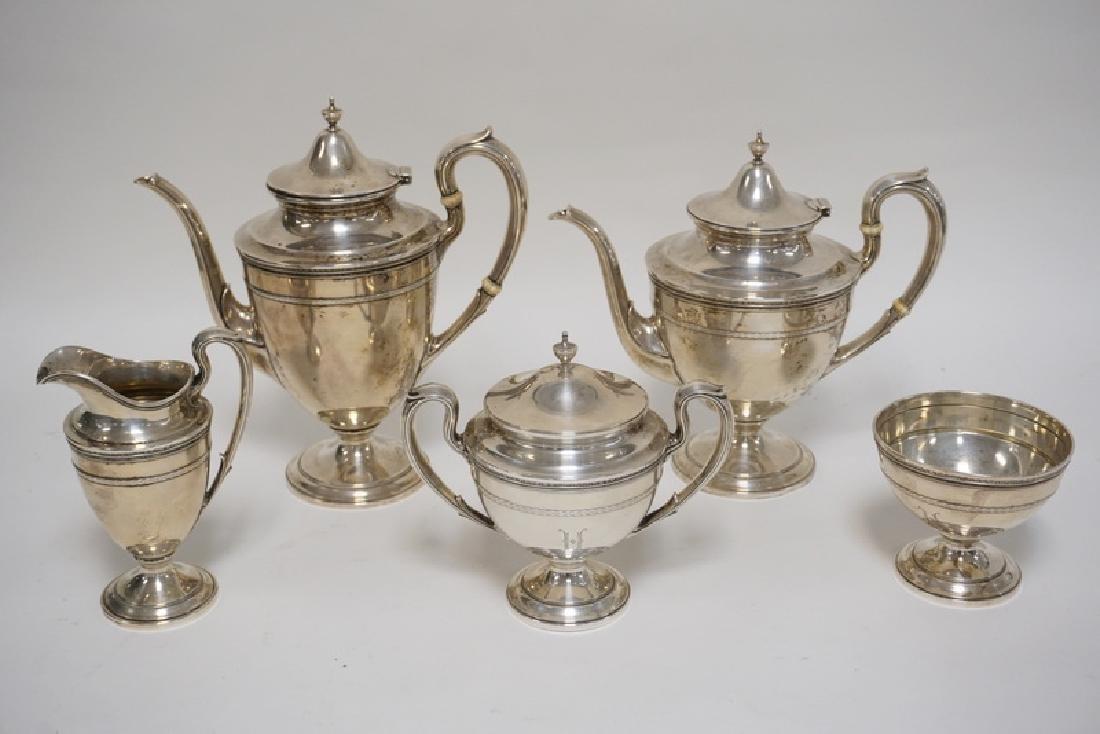 GORHAM *EDGEWORTH* STERLING SILVER 5 PIECE TEA SET. THE