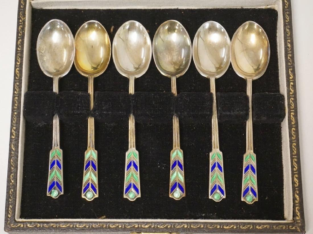 SET OF 6 ENGLISH ENAMELED STERLING SILVER SPOONS