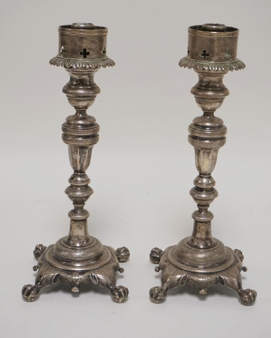 EXCEPTIONAL PAIR OF SILVER PLATED CANDLESTICKS WITH