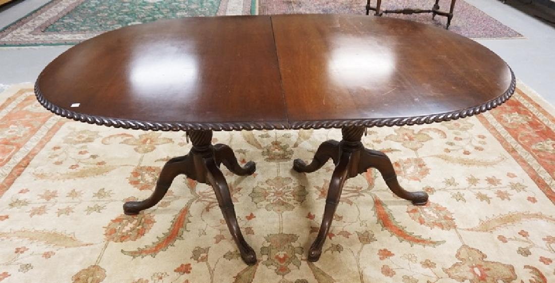 MAHOGANY DINING TABLE BY CHARAK HAVING CARVED DOUBLE