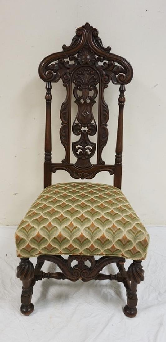 ORNATELY CARVED ANTIQUE HIGH BACK WALNUT CHAIR. 50 1/2