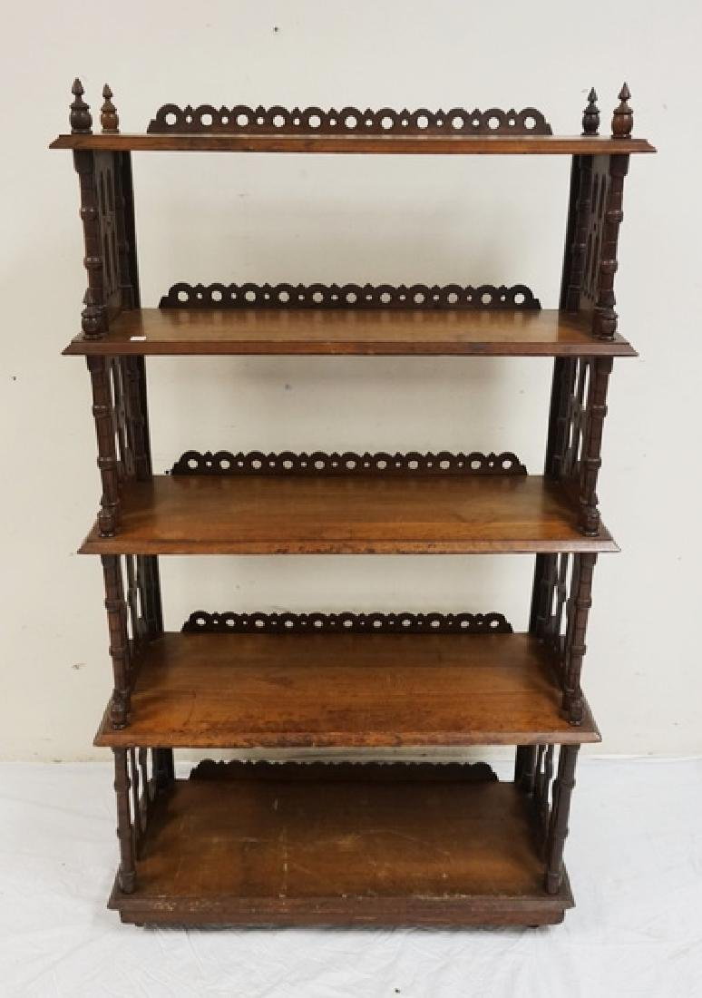 CARVED WALNUT VICTORIAN WHAT NOT SHELF. 55 1/2 INCHES