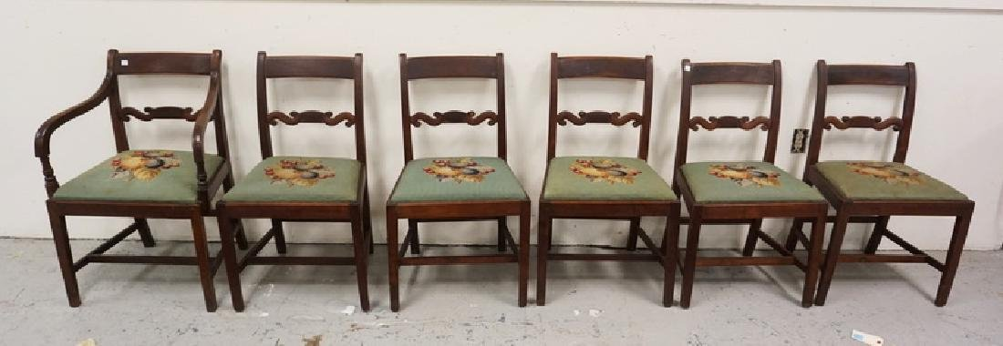 SET OF 6 ANTIQUE MAHOGANY DINING CHAIRS WITH CARVED