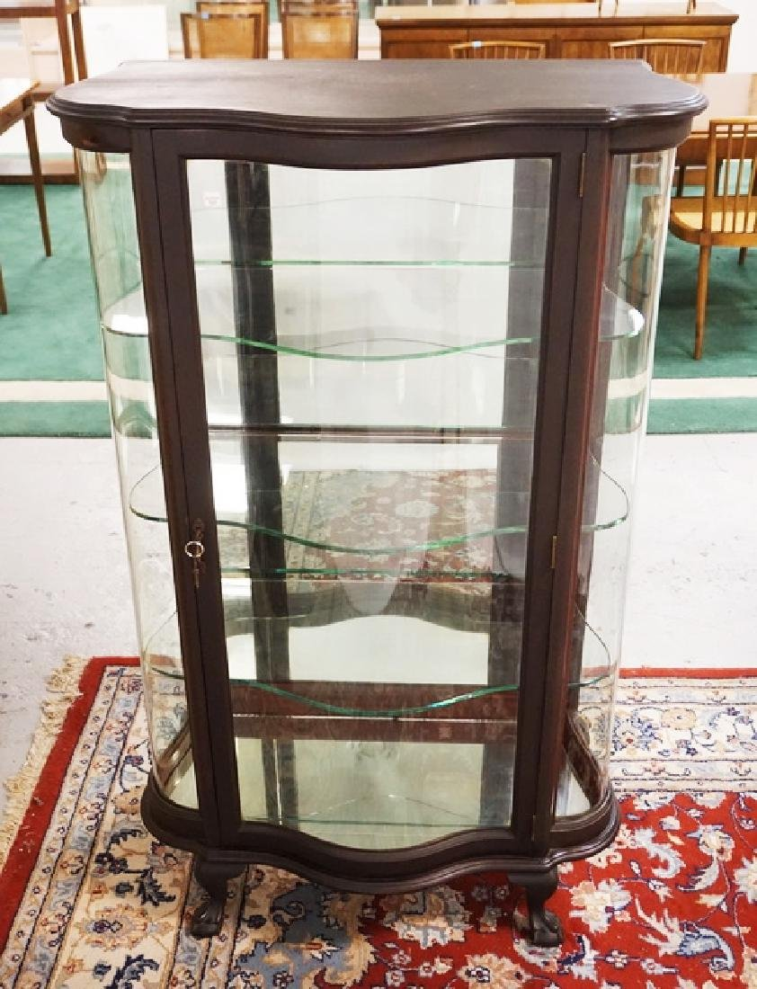 UNUSUAL ANTIQUE MAHOGANY DIMINUTIVE CHINA CABINET WITH