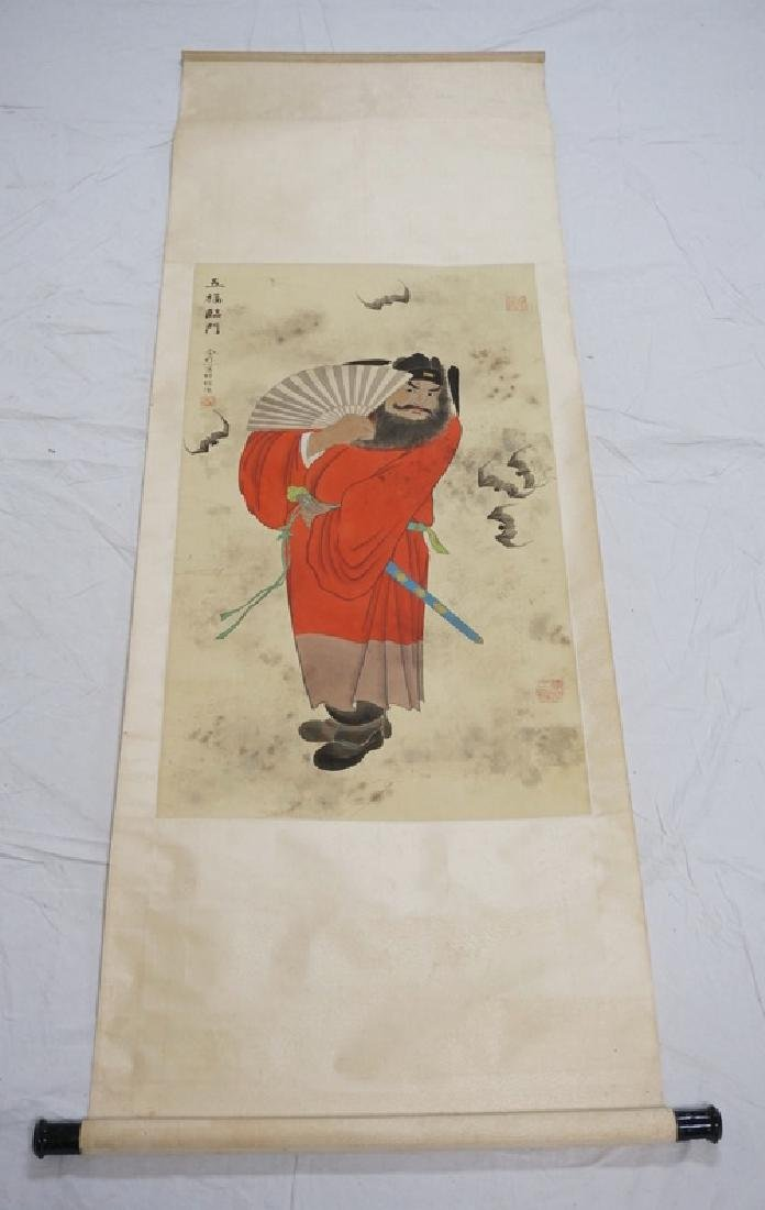 PAINTED ASIAN SCROLL DEPICTING A MAN WITH A FOLDING FAN