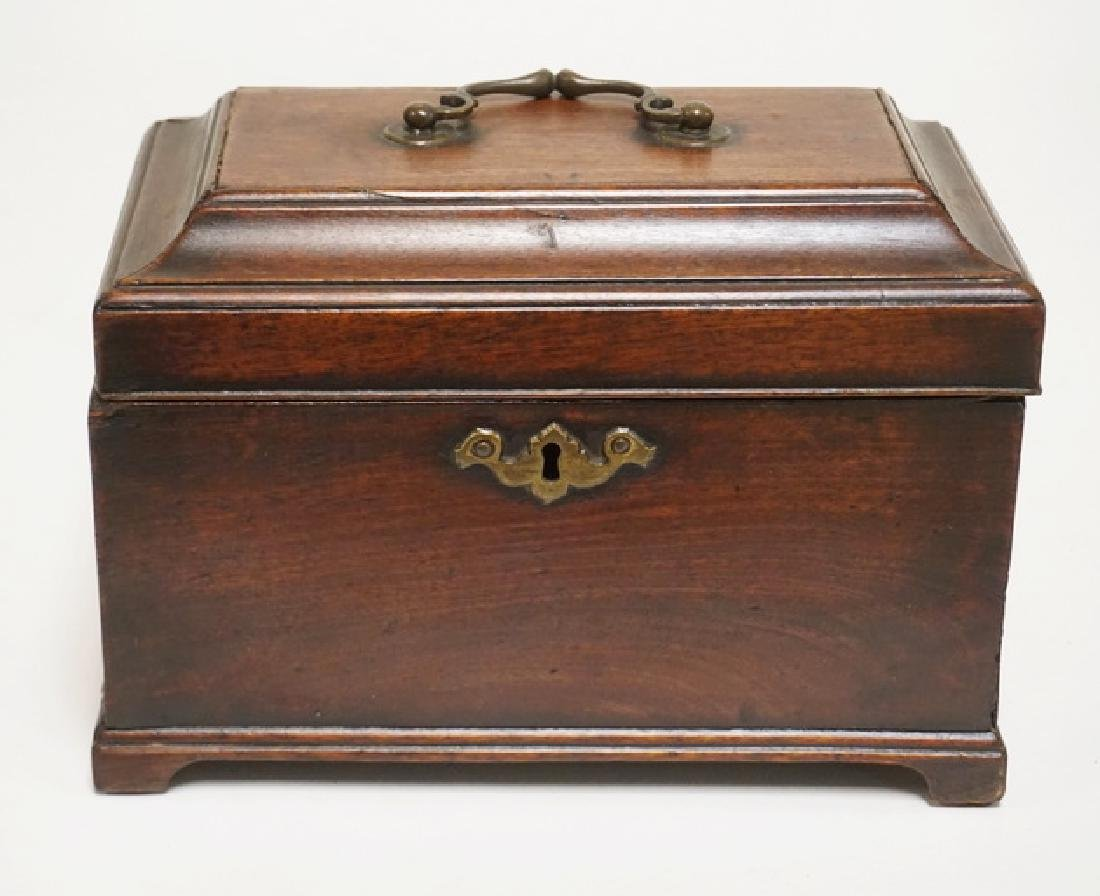 ANTIQUE ENGLISH WALNUT TEA CADDY WITH 3 COMPARTMENTS.