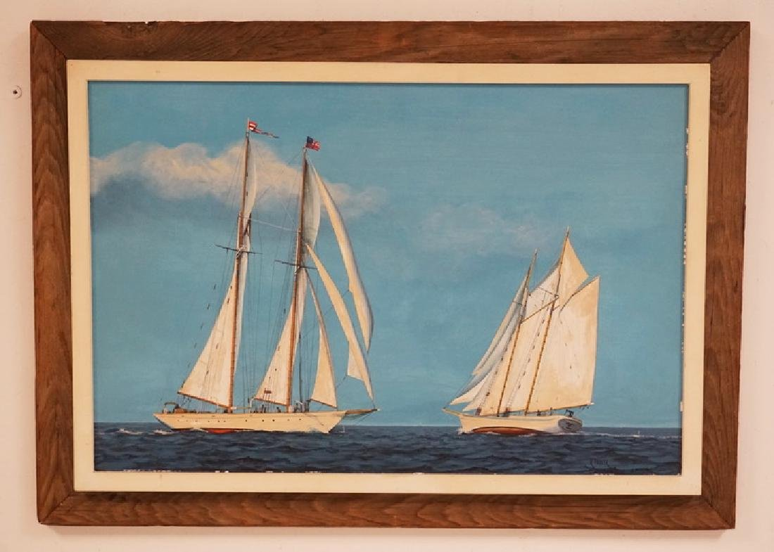 RICHARD FIEDLER OIL PAINTING ON CANVAS OF TWO SAILBOATS