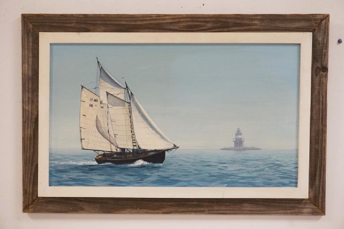 RICHARD FIEDLER OIL PAINTING ON CANVAS OF A SAILBOAT AT