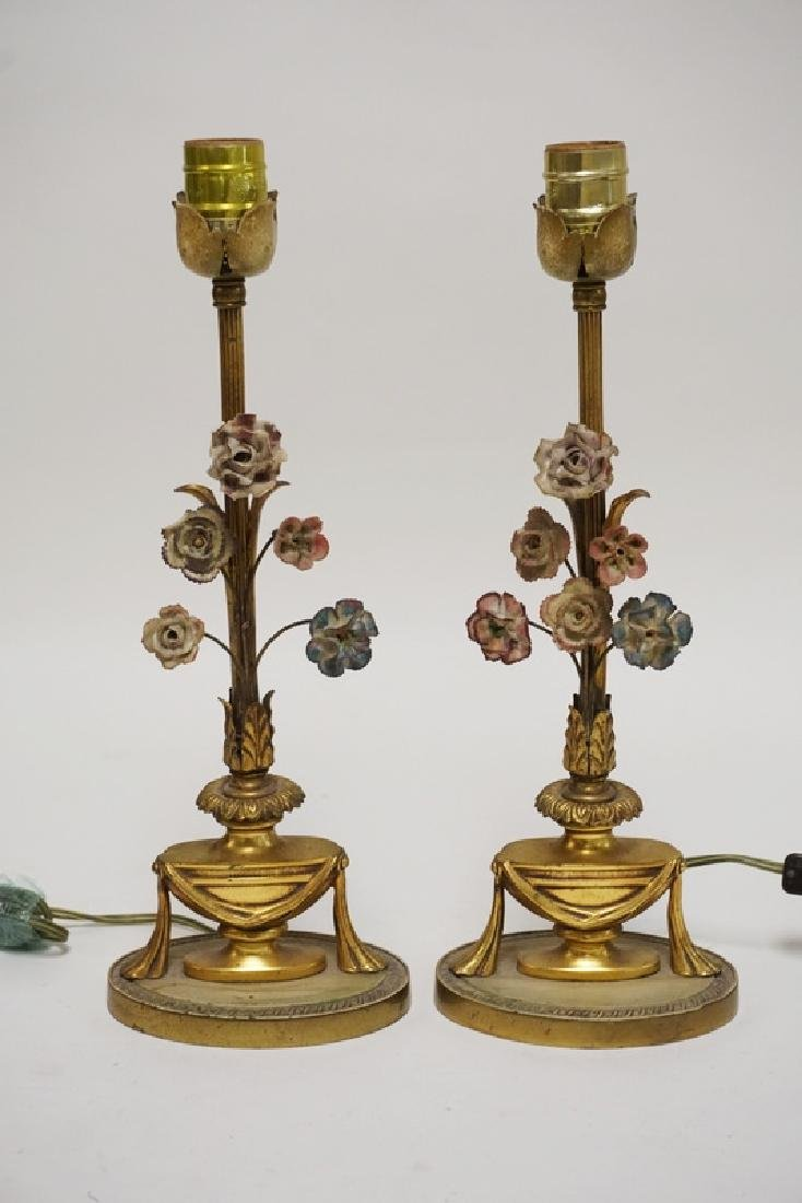 PAIR OF BRONZE STICK LAMPS WITH URN AND SWAG BASES WITH
