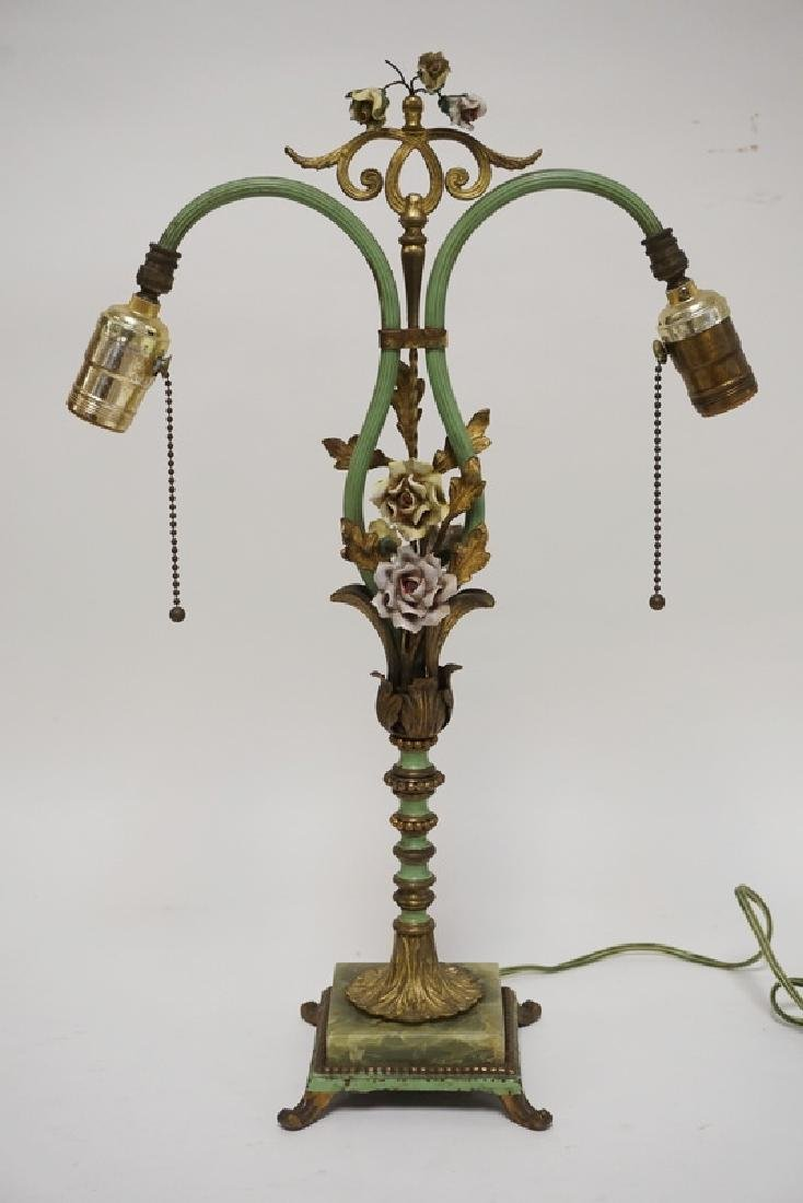 IRON & ONYX TABLE LAMP ADORNED WITH PORCELAIN FLOWERS