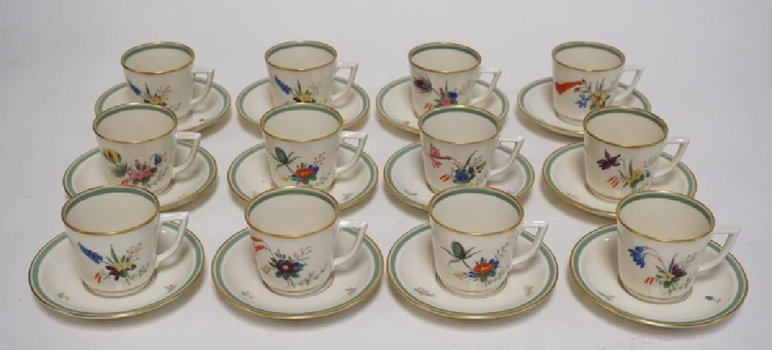 SET OF 12 ROYAL COPENHAGEN PORCELAIN TEA CUPS AND
