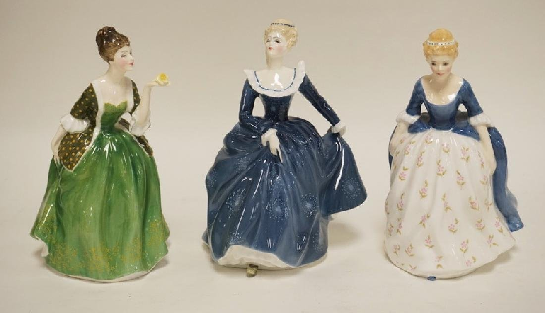 LOT OF 3 ROYAL DOULTON PORCELAIN LADIES. TALLEST IS 7