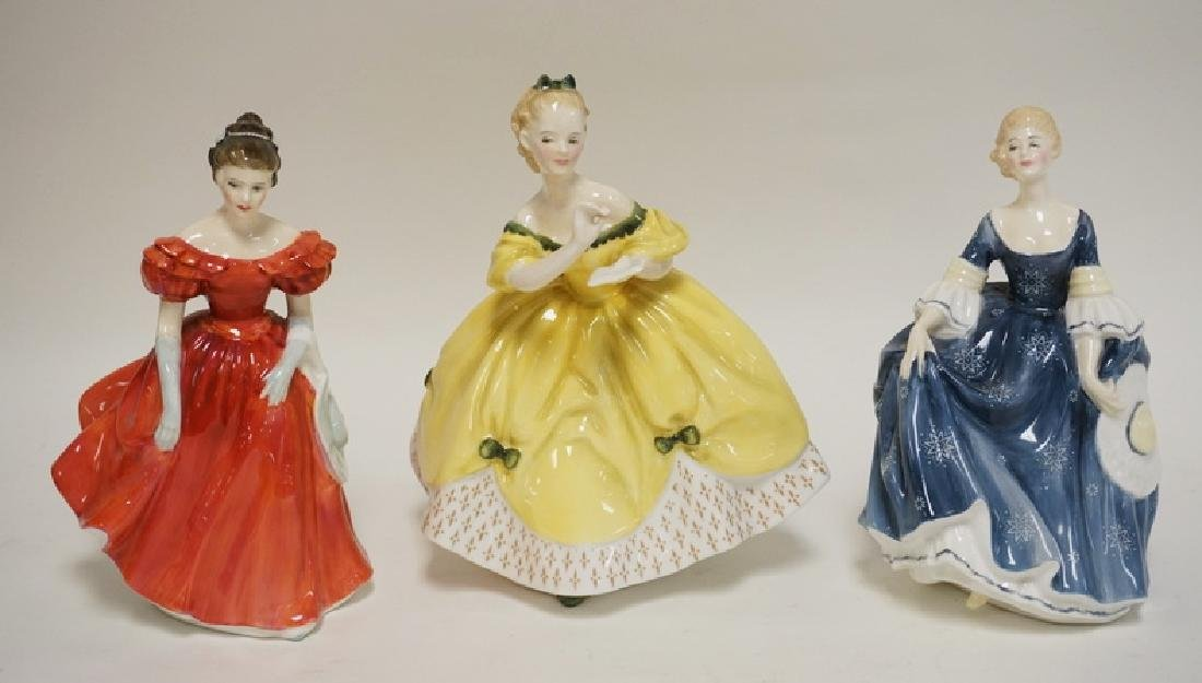 LOT OF 3 ROYAL DOULTON PORCELAIN LADIES. TALLEST IS 8