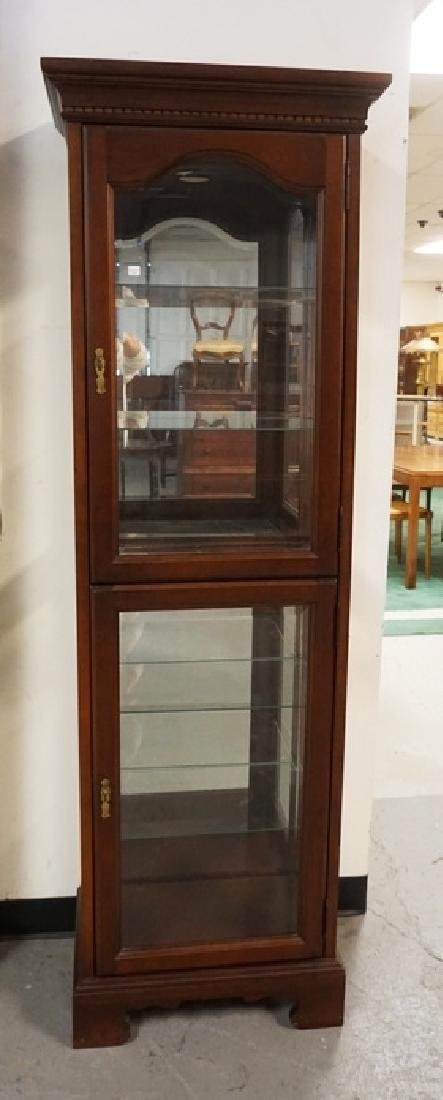 CHERRY CURIO CABINET WITH GLAS SIDES, GLAS SHELVES,