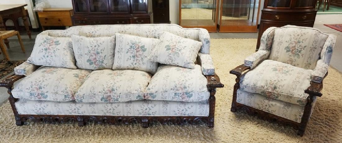 ANTIQUE CARVED WALNUT SOFA AND LOUNGE CHAIR.