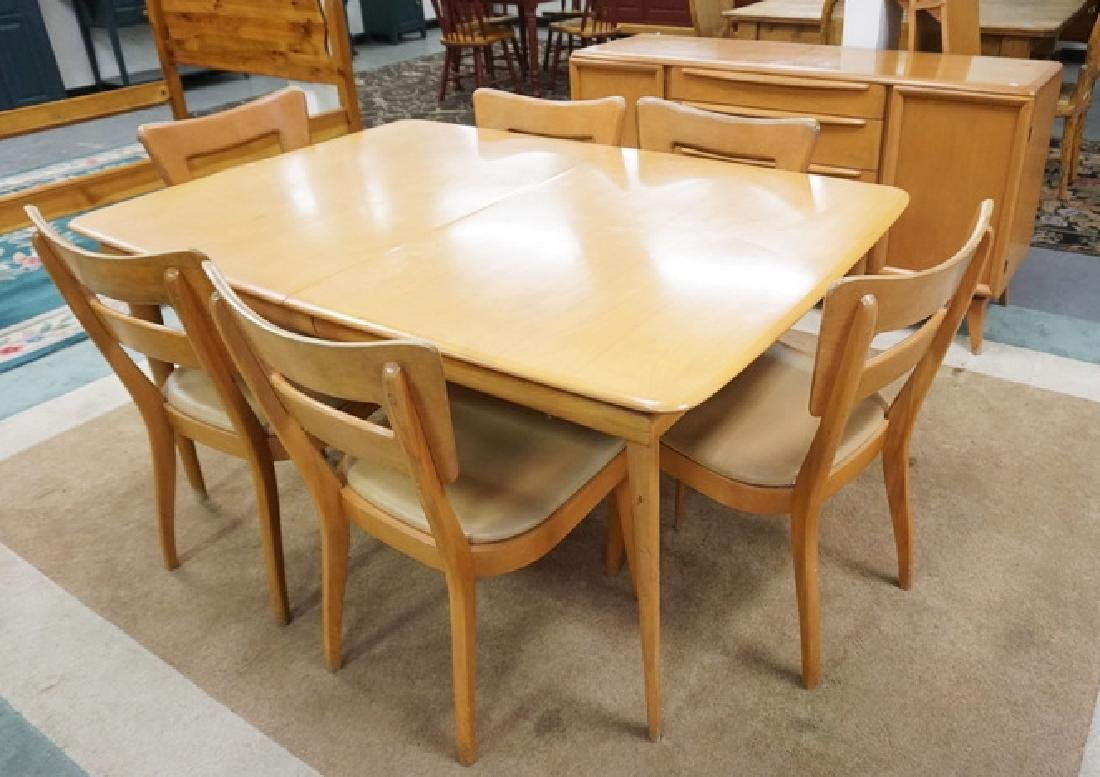 HEYWOOD WAKEFIELD CHAMPAGNE FINISHED DINING ROOM SET.