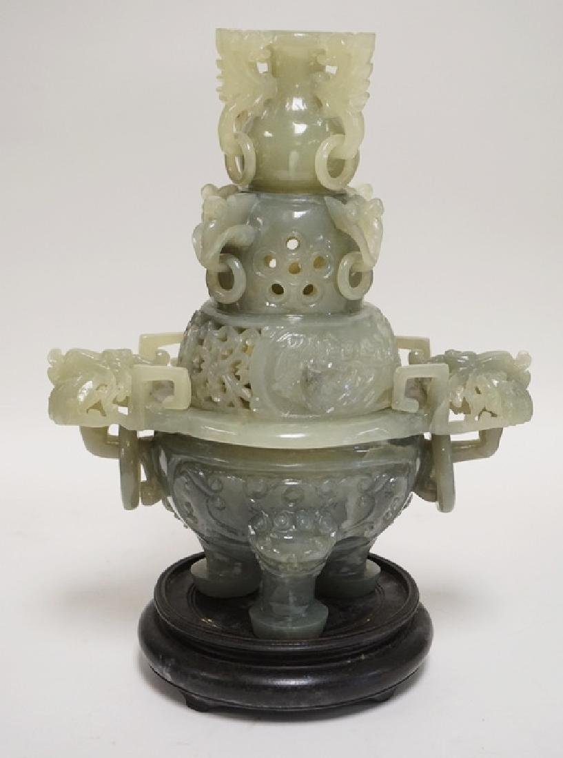CARVED ASIAN GREEN STONE CENSER. 2 PIECE PLUS A CARVED