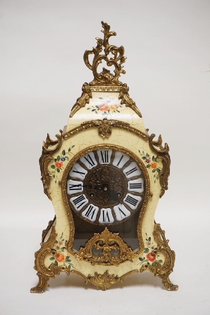 GERMAN PAINT DECORATED MANTEL CLOCK. 22 1/2 INCHES