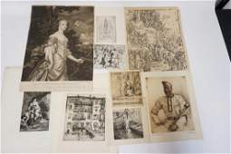 GROUPING OF 9 ANTIQUE ETCHINGS & PRINTS. INCLUDES