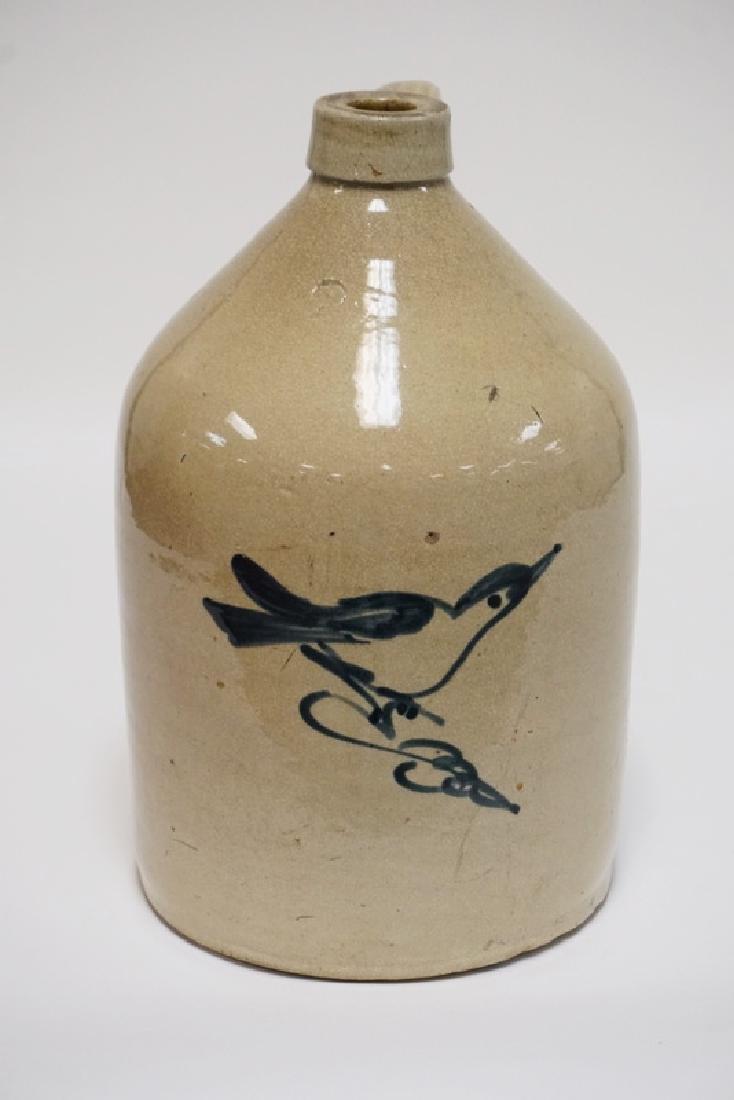FULPER STONEWARE JUG. BLUE DECORATED WITH A BIRD. 2