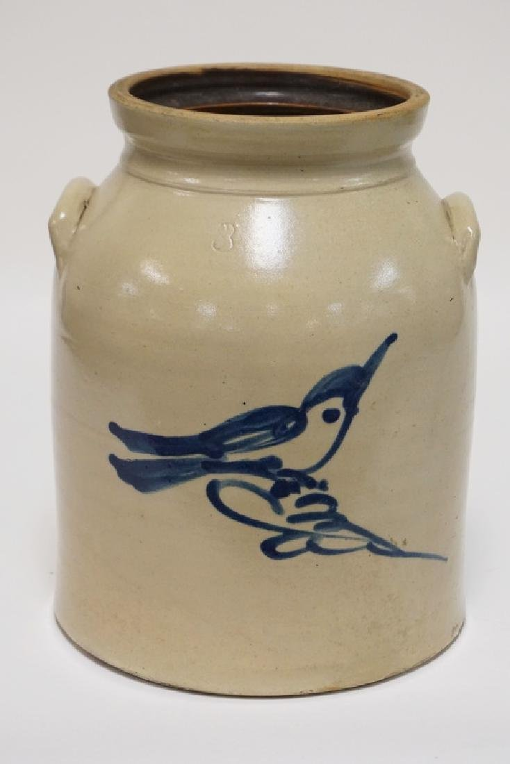 FULPER STONEWARE CROCK. BLUE DECORATED WITH A BIRD. 3