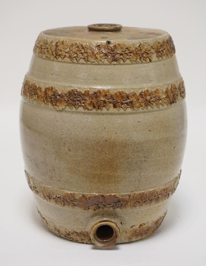 STONEWARE WATER COOLER WITH EMBOSSED RINGS OF GRAPE AND