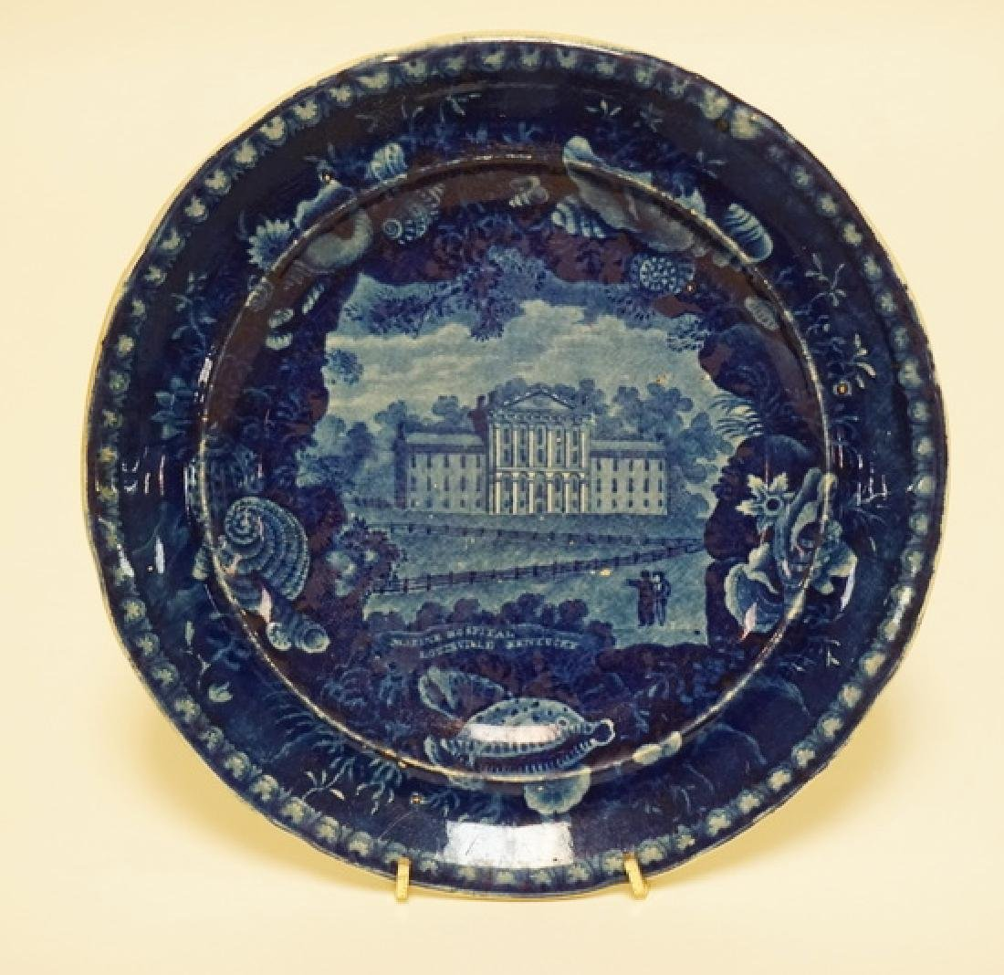 WOOD & SONS HISTORIC BLUE TRANSFERWARE DECORATED PLATE
