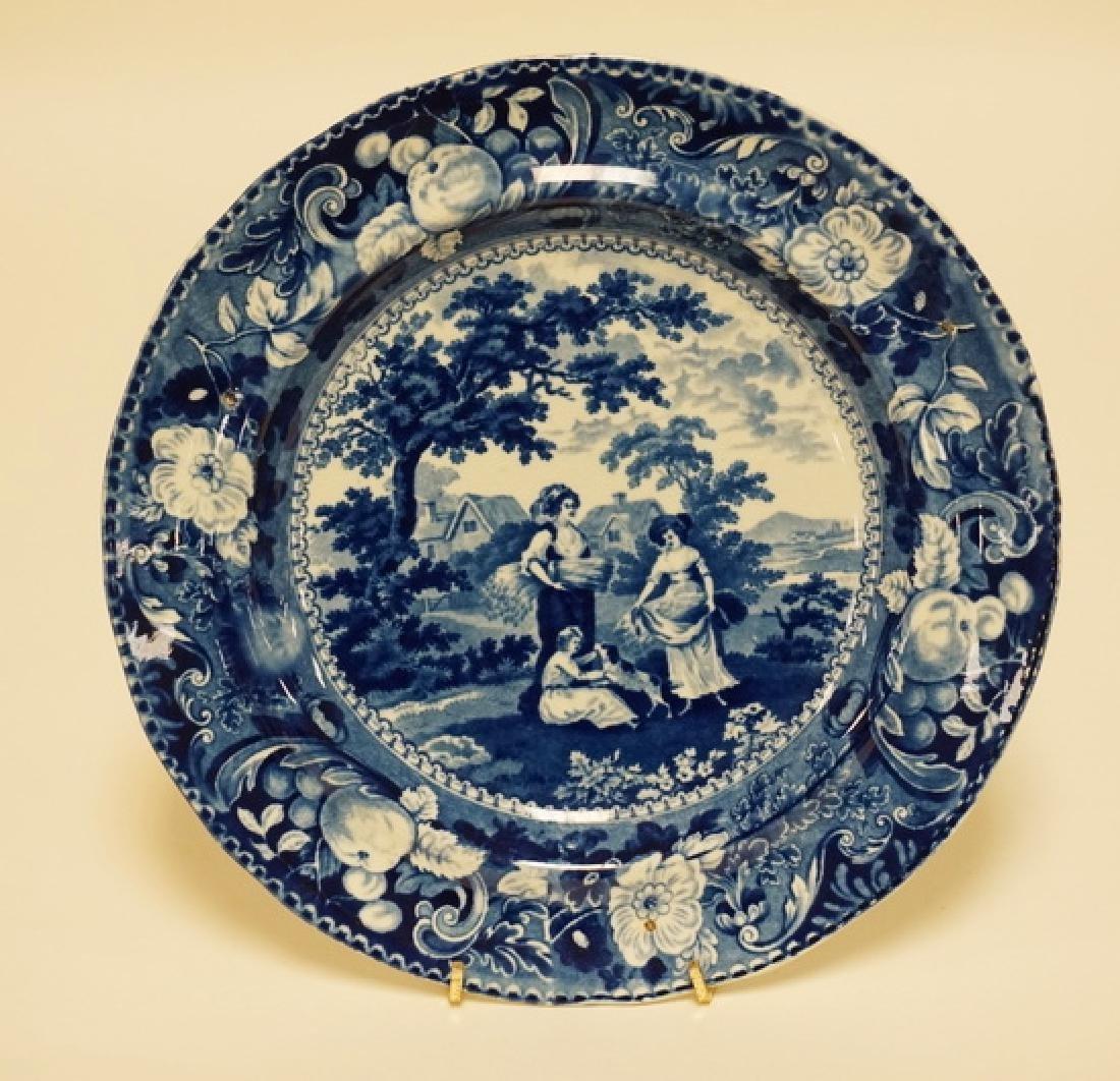 ANTIQUE HISTORIC BLUE TRANSFERWARE PLATE HAVING A FARM