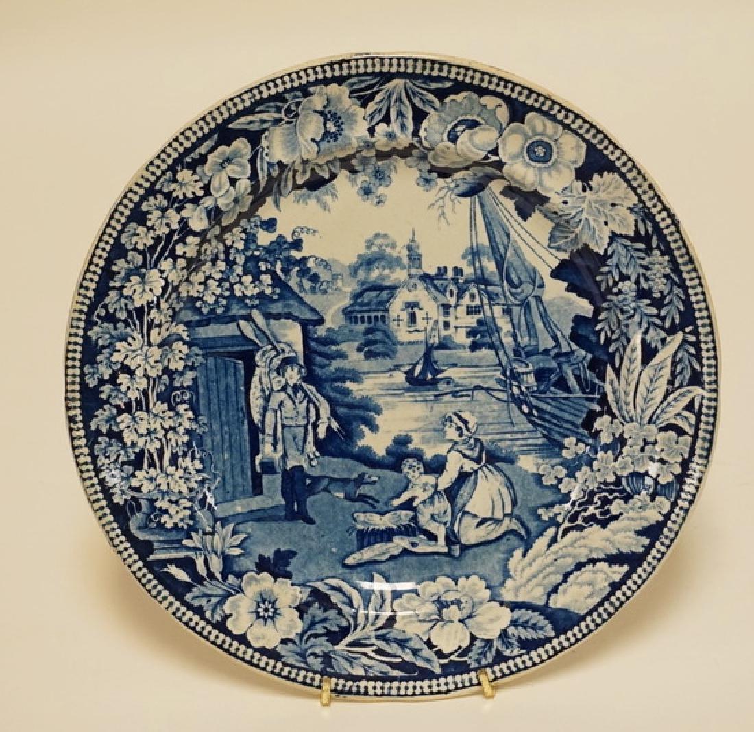 ANTIQUE HISTORIC BLUE TRANSFERWARE PLATE HAVING A