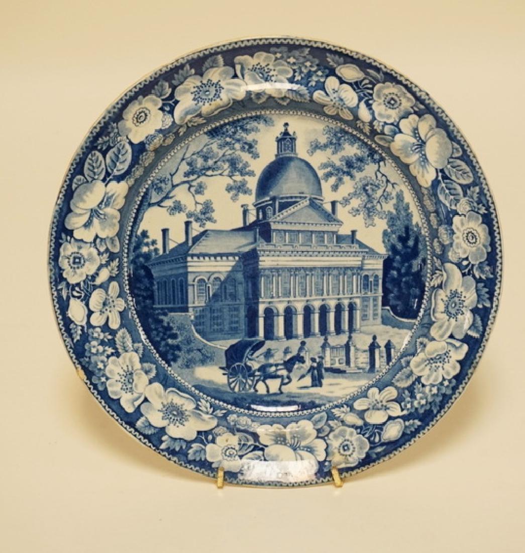 ANTIQUE HISTORIC BLUE TRANSFERWARE PLATE HAVING THE