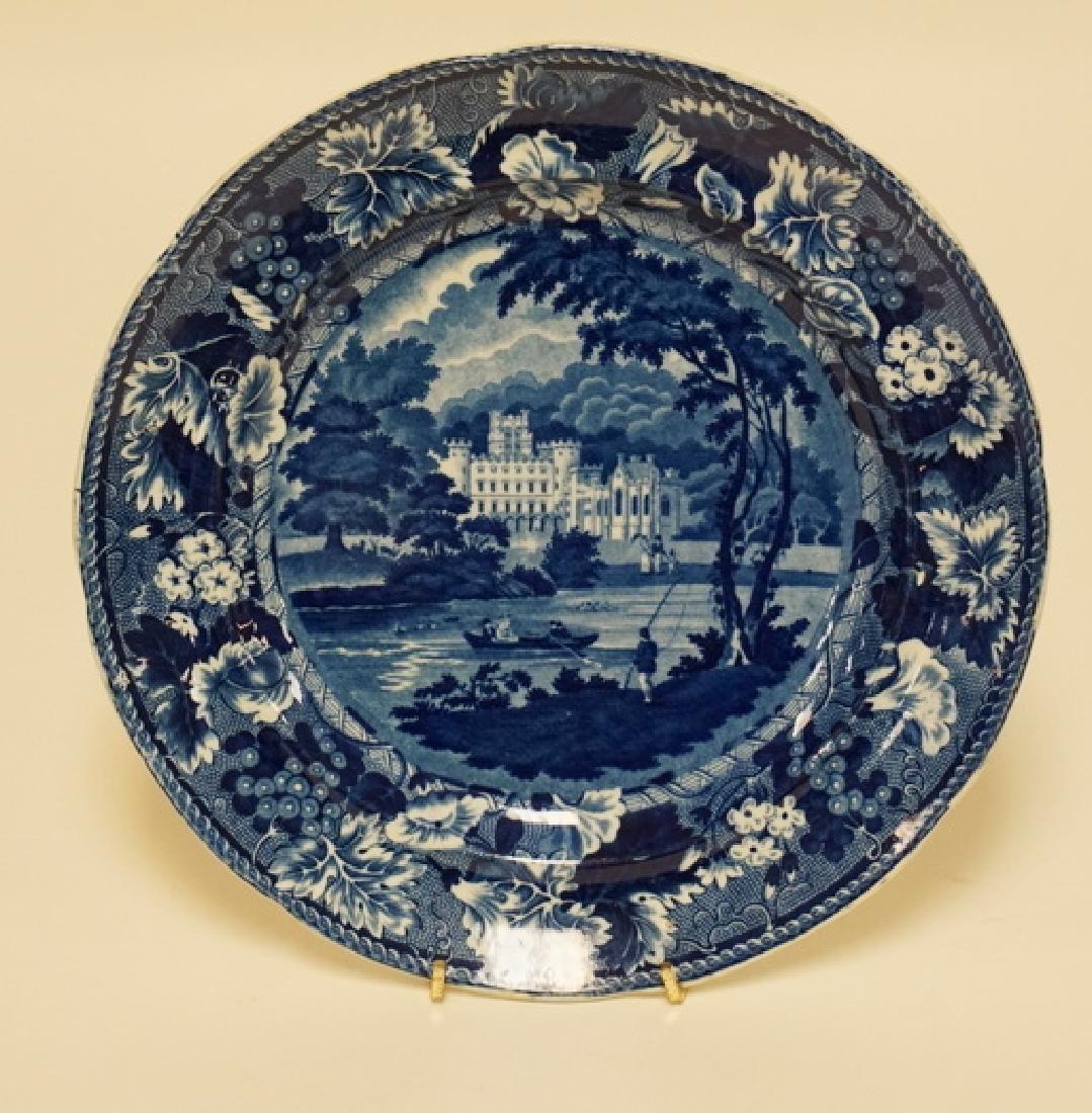 ANTIQUE STAFFORDSHIRE HISTORIC BLUE TRANSFERWARE PLATE