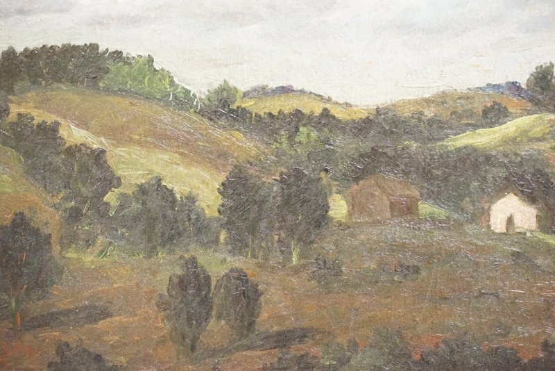OIL PAINTING ON CANVAS. A GREEN LANDSCAPE WITH TREE - 2