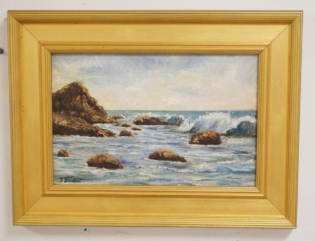 OIL PAINTING ON ARTISTS BOARD OF A SEASCAPE DEPICTING