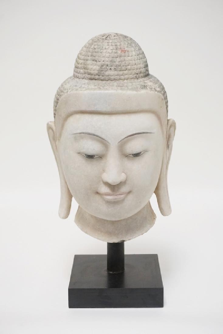 LARGE CARVED BURMESE ALABASTER BUDDHA HEAD. 19 1/4