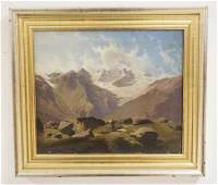 OIL PAINTING ON CANVAS OF A MOUNTAINOUS LANDSCAPE WITH