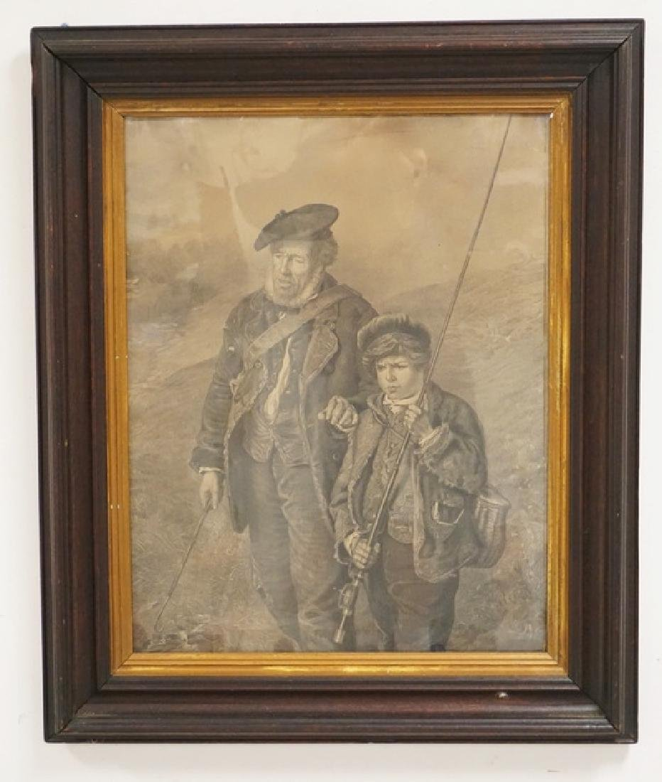 LARGE STEEL ENRAVING OF A SCOTTISH MAN & HIS SON